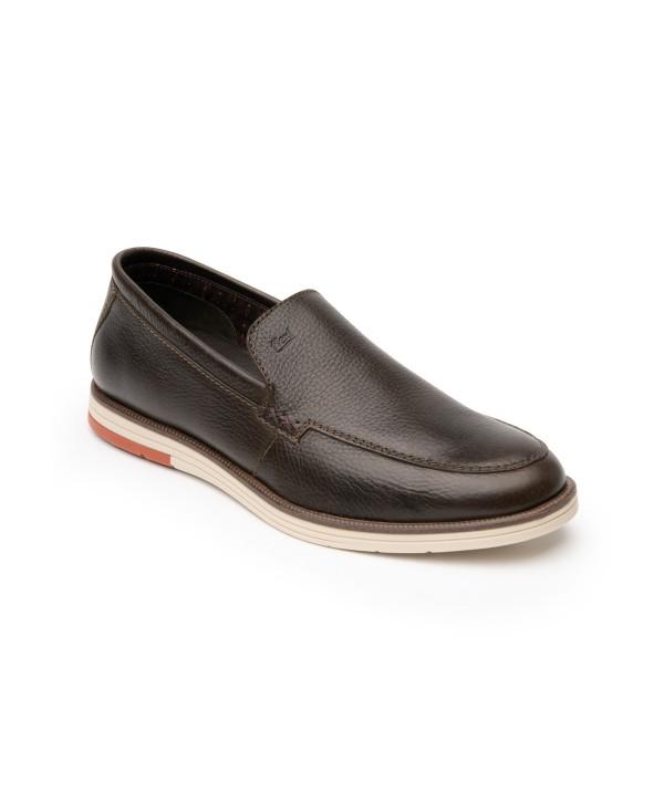 Loafer Piel Grasa Flexi Para Hombre Estilo 406703 Chocolate
