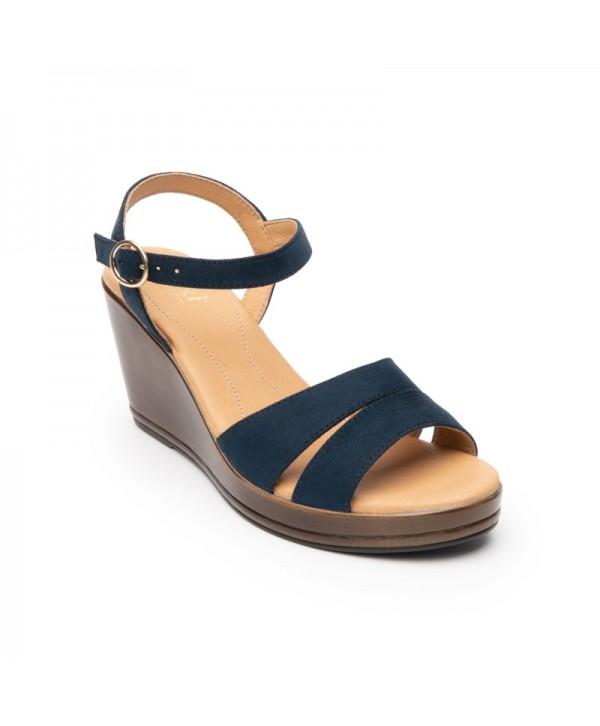 Sandalia Con Plataforma Flexi Para Mujer Estilo 100708 Azul