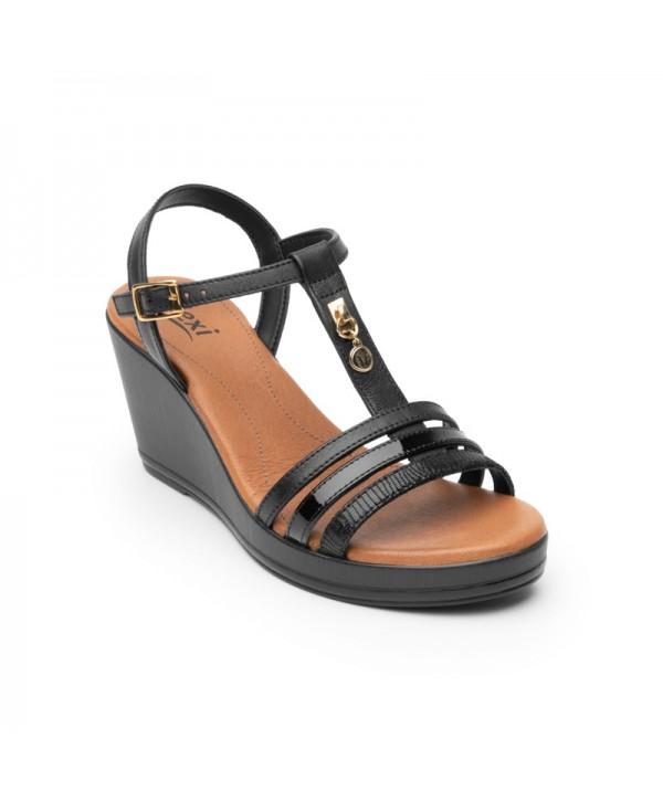 Sandalia Con Plataforma Flexi Para Mujer Estilo 100712 Negro