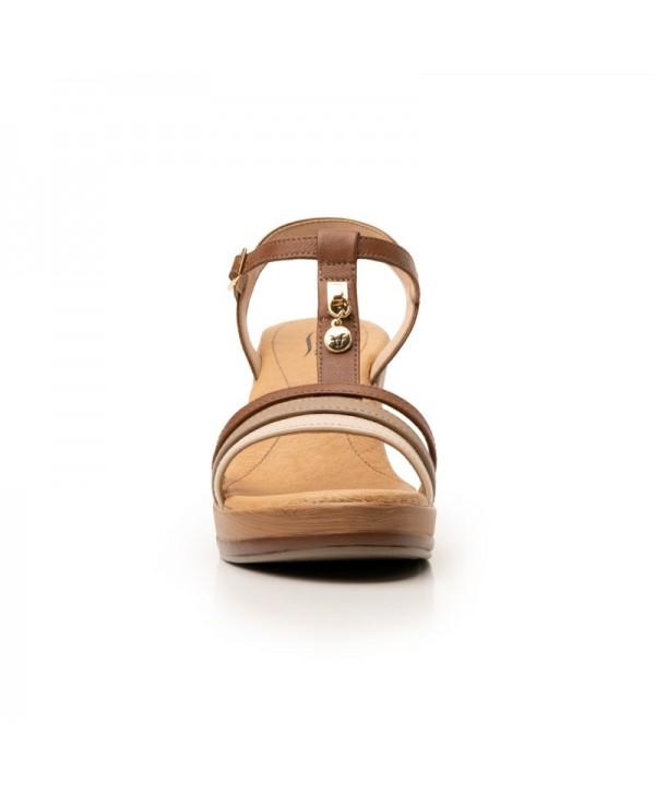 Sandalia Con Plataforma Flexi Para Mujer Estilo 100712 Tan