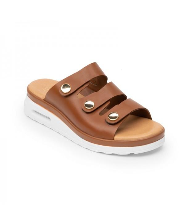 Sandalia Casual Flexi Para Mujer Con Capsula Air Sandal Estilo 106502 Tan