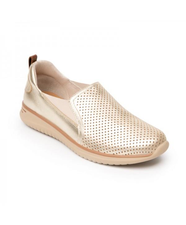 Sneaker Casual Flexi Para Mujer Con Suela Extra Ligera Estilo 107601 Oro