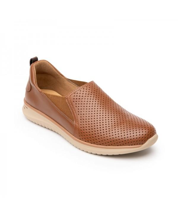 Sneaker Casual Flexi Para Mujer Con Suela Extra Ligera Estilo 107601 Tan