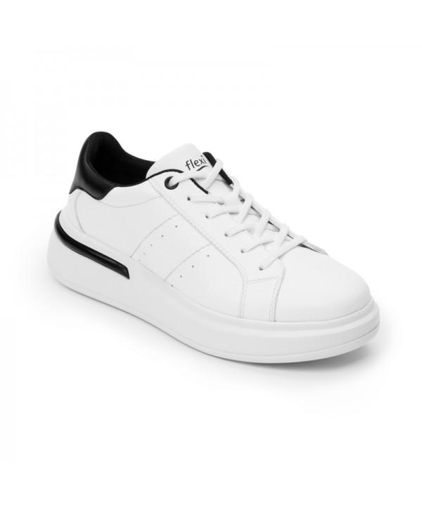 Sneaker Urbano Flexi Para Mujer Con Flowtek Estilo 108102 Blanco Negro