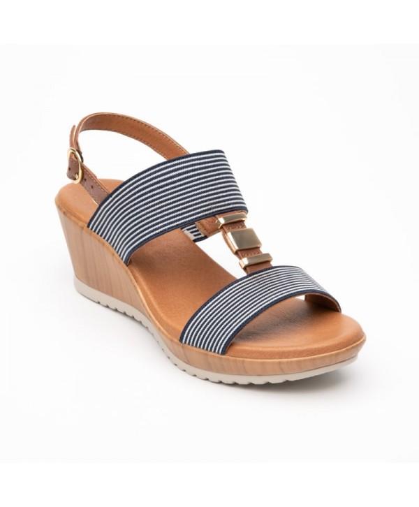 Sandalia Con Plataforma Y Elásticos Flexi Para Mujer Estilo 34516 Azul