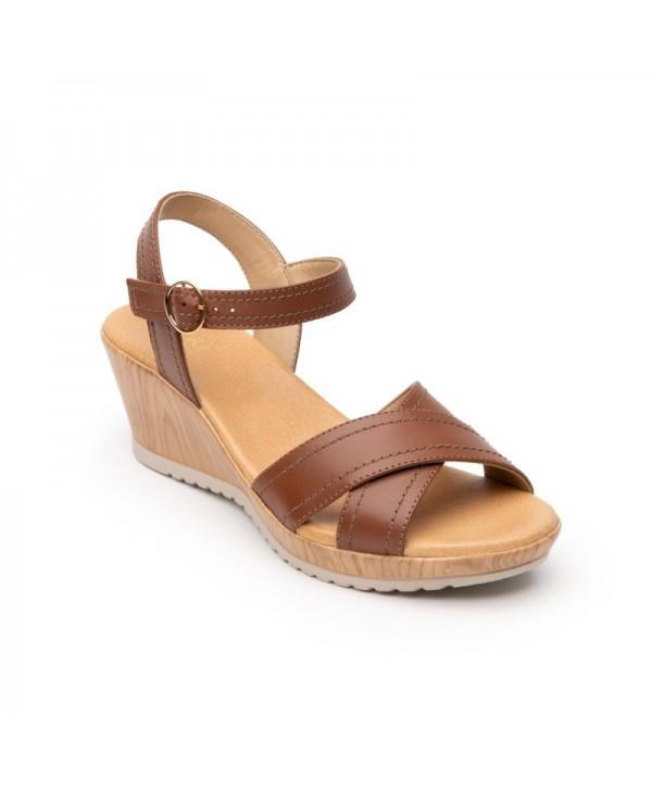 Sandalia Con Elásticos Flexi Para Mujer Estilo 34519 Tan
