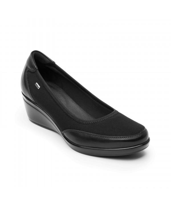 Zapato De Confort Flexi Con Cuña De Alto Brillo - 45215 Negro